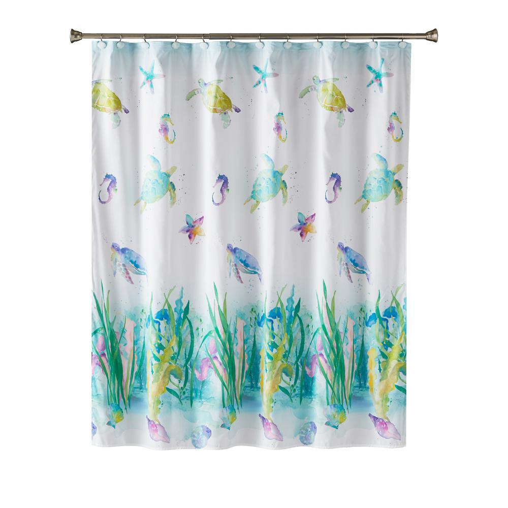 Watercolor Ocean 72 in. Multi Shower Curtain