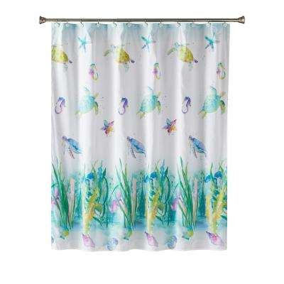 Watercolor Ocean 72 in. Multi Shower Curtain