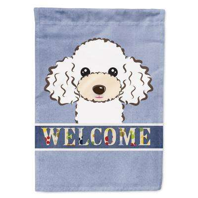 11 in. x 15-1/2 in. Polyester White Poodle Welcome 2-Sided 2-Ply Garden Flag