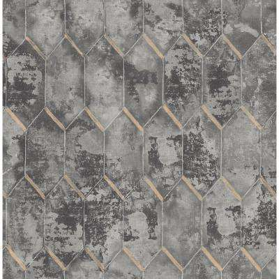 Whitney Metallic Gold and Charcoal Geometric Wallpaper