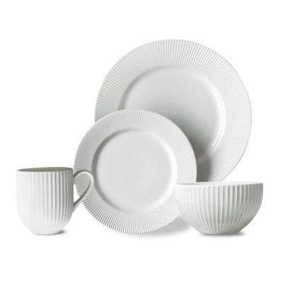 Chester 16-Piece White Chester Dinnerware Set