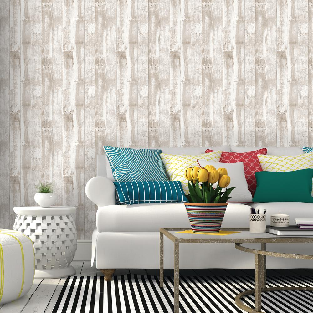 Repeel Brown Reclaimed Wood Removable Wallpaper