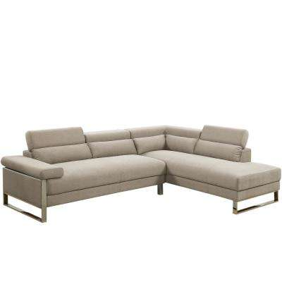 2-Piece Beige Glossy Polyfiber (Linen-Like Fabric) Sectional Sofa with Moving Headrest