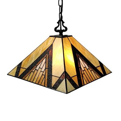 Tiffany 2-Light Brown & Tan Hanging Pendant with Stained Glass Shade