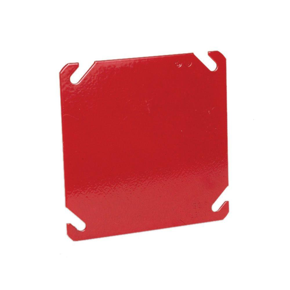 4 in. Square Blank Cover, Flat - Life Safety Red (50-Pack)