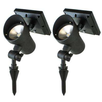 Black Outdoor Integrated LED Landscape High Lumen Metal Solar LED Spot Light (2-Pack)