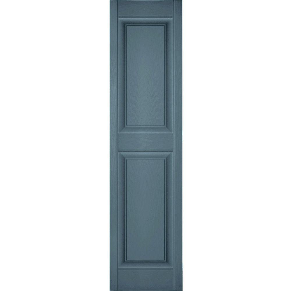 12 in. x 63 in. Lifetime Vinyl Standard 2 Equal Raised Panel Shutters Pair Wedgewood Blue