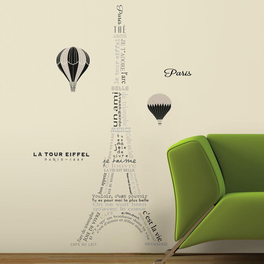 Charmant RoomMates 5 In. W X 19 In. H Eiffel Tower Neutral 9 Piece Peel And Stick  Giant Wall Decal RMK3094GM   The Home Depot