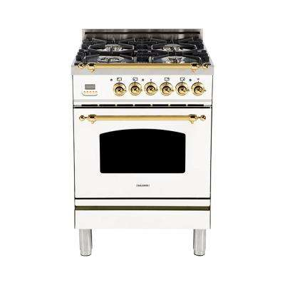24 in. 2.4 cu. ft. Single Oven Dual Fuel Italian Range with True Convection, 4 Burners, LP Gas, Brass Trim in White