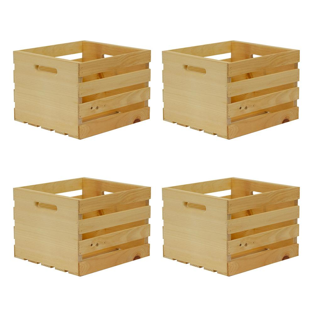 Crates & Pallet 13.5 in. x 12.5 in. x 9.5 in. Medium Wood Crate (4-Pack)