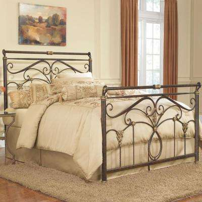 Lucinda Marbled Russet Queen Complete Bed with Intricate Metal Scrollwork and Sleighed Top Rail Panels