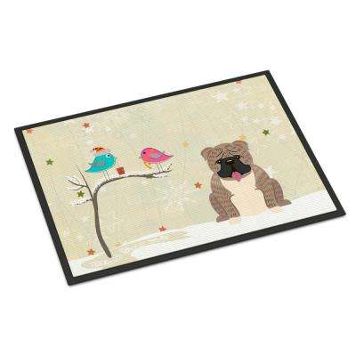 18 in. x 27 in. Indoor/Outdoor Christmas Presents between Friends English Bulldog Grey Brindle Door Mat