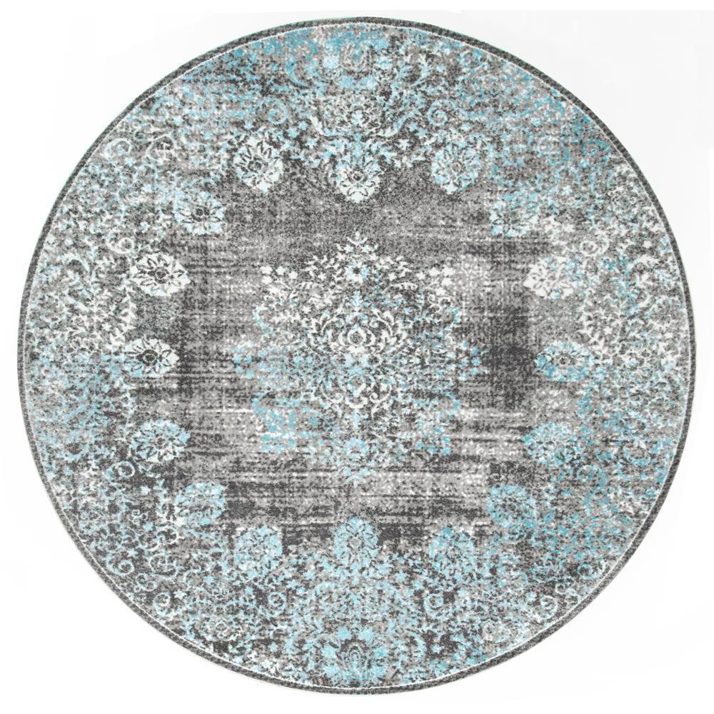Nuloom Lacy Vintage Floral Teal 6 Ft Round Rug Binb03a R606 The