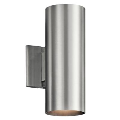 Independence 2-Light Brushed Aluminum Outdoor Wall Cylinder Light