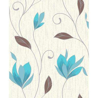 8 in. x 10 in. Synergy Teal Floral Trails Sample