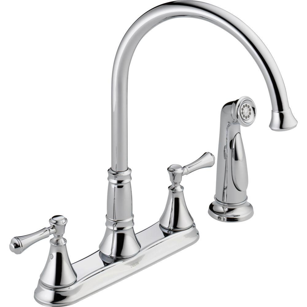 Delta Cassidy 2-Handle Standard Kitchen Faucet with Side Sprayer in Chrome