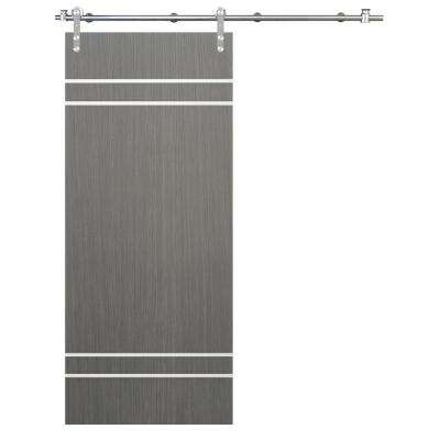 36 in. x 84 in. Flush Unfinished Driftwood Interior Barn Door with Round Stainless Sliding Door Hardware Kit