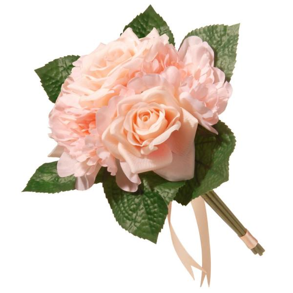 12.2 in. Mixed Peach Rose and Peony Bouquet