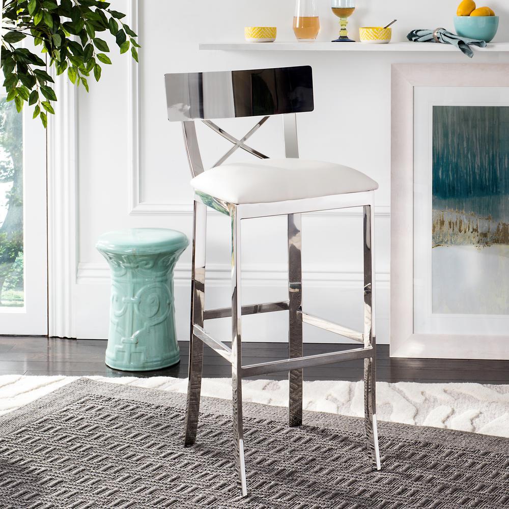 stainless steel cross back bar stool in white