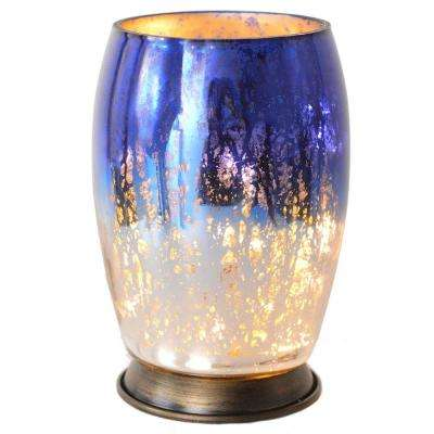 5.8 in. Blue and Silver Handblown Mercury Glass Votive Uplight Table Lamp