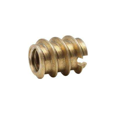1/4 in.-20 tpi Solid Brass Wood Insert Nut (2-Pack)