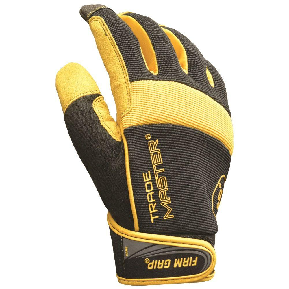 Firm Grip Large Trade Master Mesh-Net Fabric and Leather Work Gloves