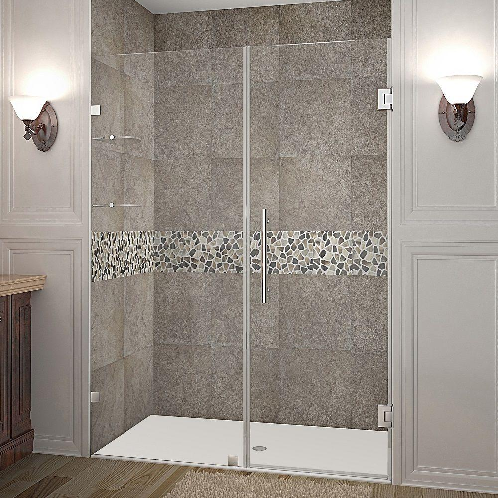 Aston Nautis GS 52 in. x 72 in. Frameless Hinge Shower Door in Stainless Steel with Glass Shelves