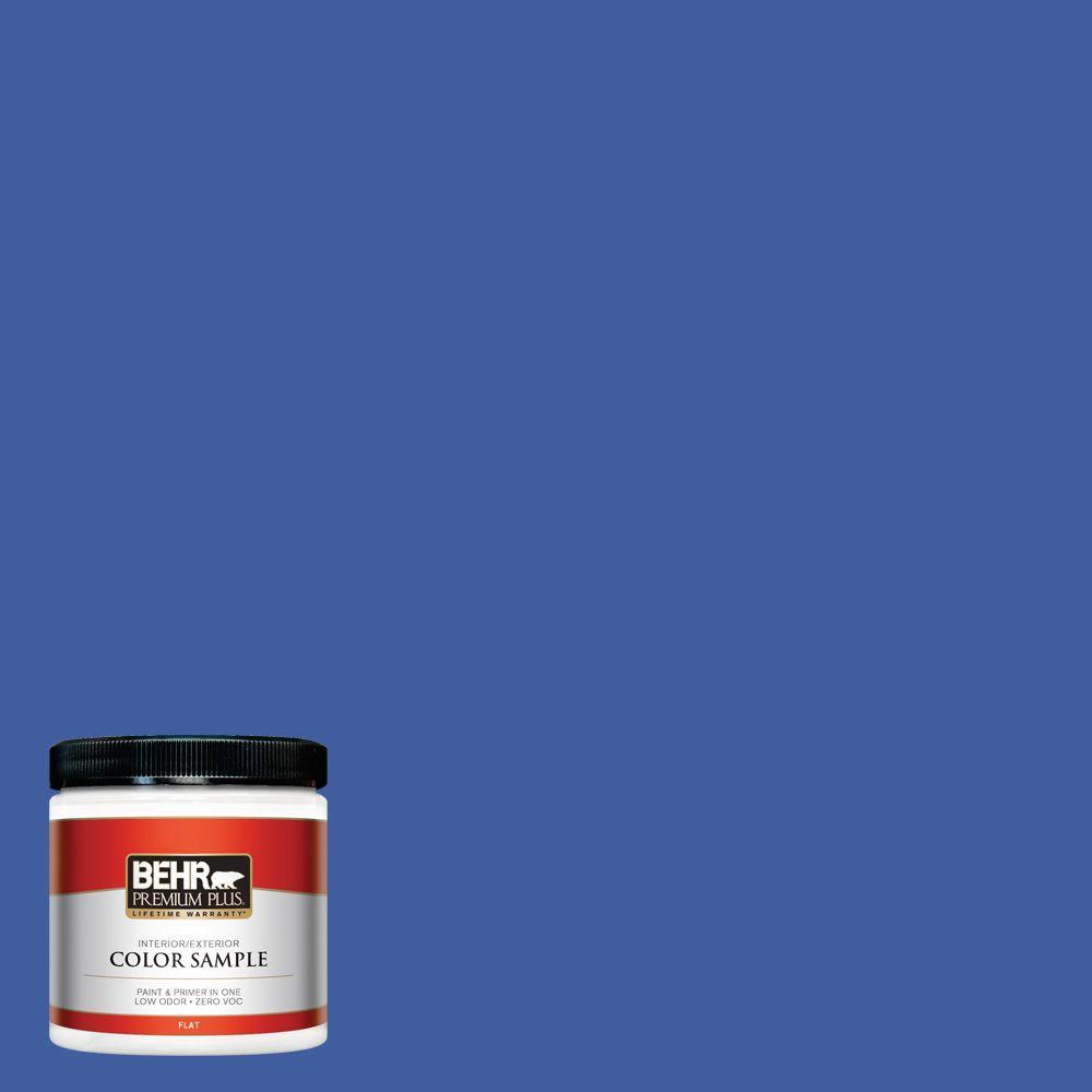 BEHR Premium Plus 8 oz. #BIC-21 Blue Dahlia Interior/Exterior Paint Sample