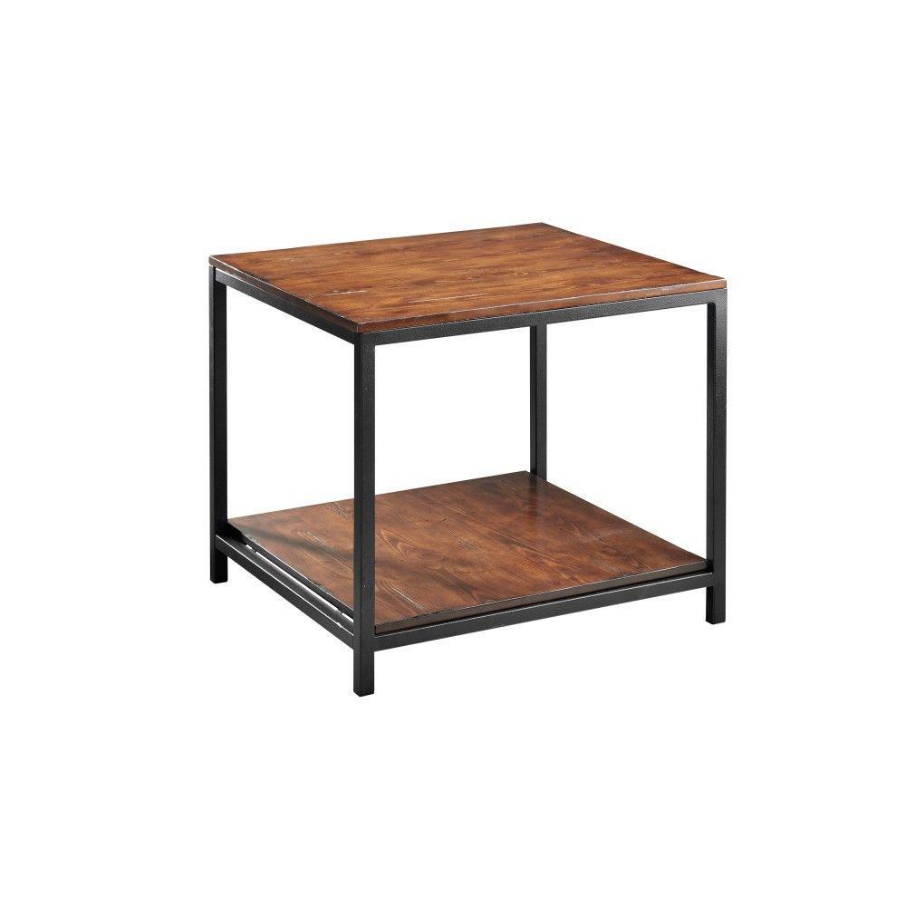 Industrial Mansard Black End Table