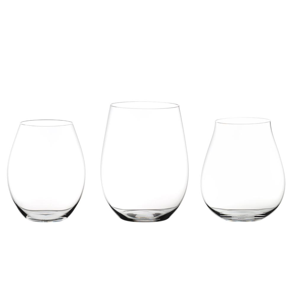 Big O 3-Piece Stemless Assorted Red Wine Glass Set