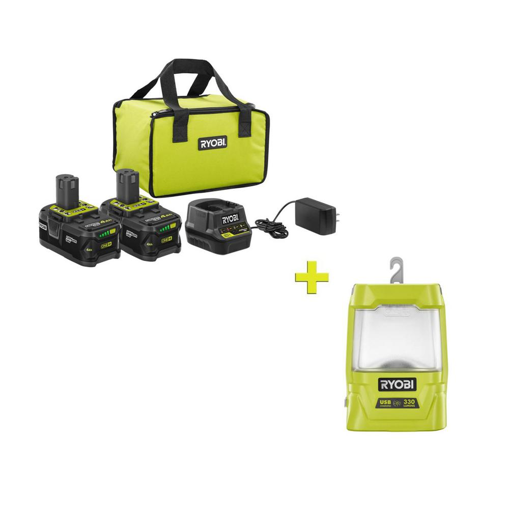 RYOBI 18-Volt ONE+ High Capacity 4.0 Ah Battery (2-Pack) Starter Kit with Charger and Bag with FREE ONE+ Area Light was $256.97 now $99.0 (61.0% off)