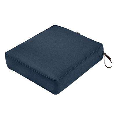 Montlake Heather Indigo Blue 25 in. W x 27 in. D x 5 in. Thick Outdoor Lounge Chair Cushion