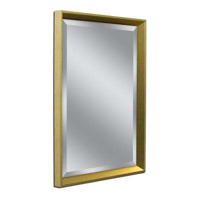 High Tower 25 in. W x 31 in. H Framed Wall Mirror in Gold