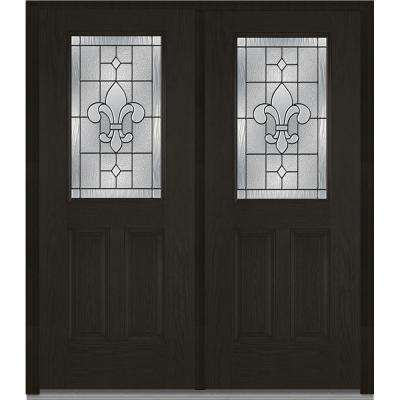 74 in x 8175 in carrollton decorative glass 12 lite oak