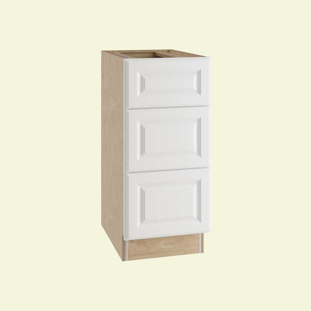 Home Decorators Collection Hallmark Assembled 12x34.5x24 in. Base Kitchen  Cabinet with 3 Drawers in Arctic White