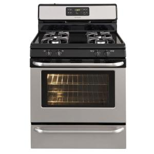 gas range with oven in stainless steel