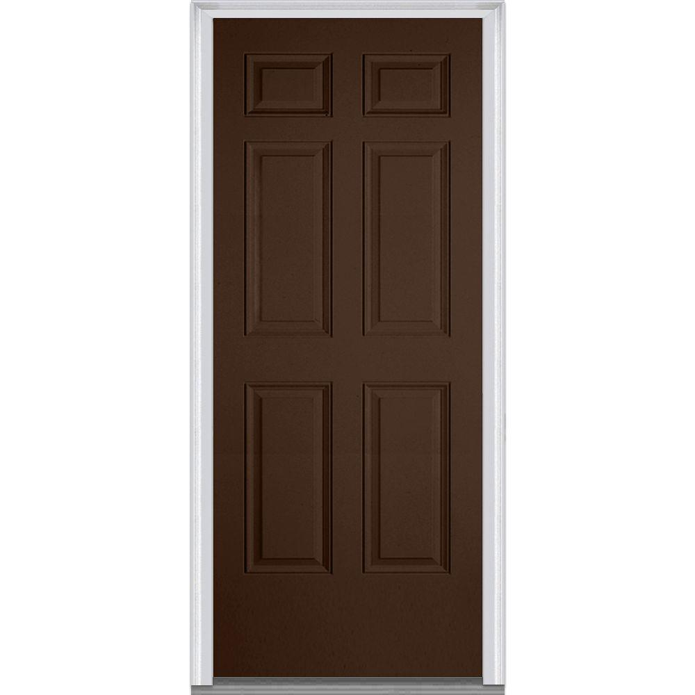 Mmi Door 32 In X 80 In Right Hand Inswing 6 Panel Classic Painted Fiberglass Smooth Prehung