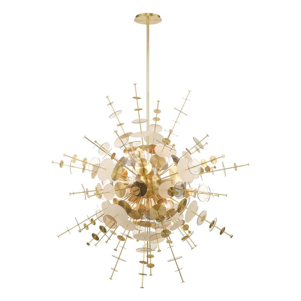 Circulo 12-Light Satin Brass Starburst Grand Foyer Pendant Chandelier