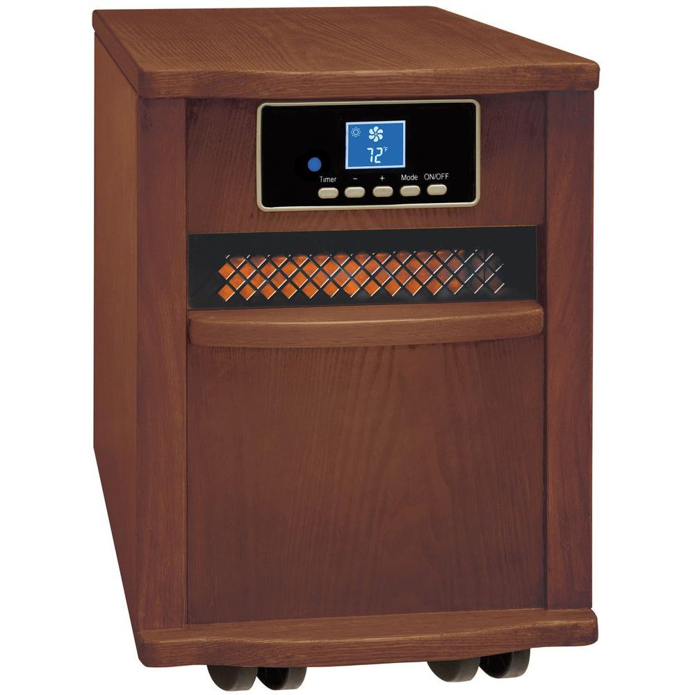 Comfort Zone 1,500-Watts Radiant Electric Wood Cabinet Quartz Portable Heater with Remote Control - Walnut Finish-DISCONTINUED