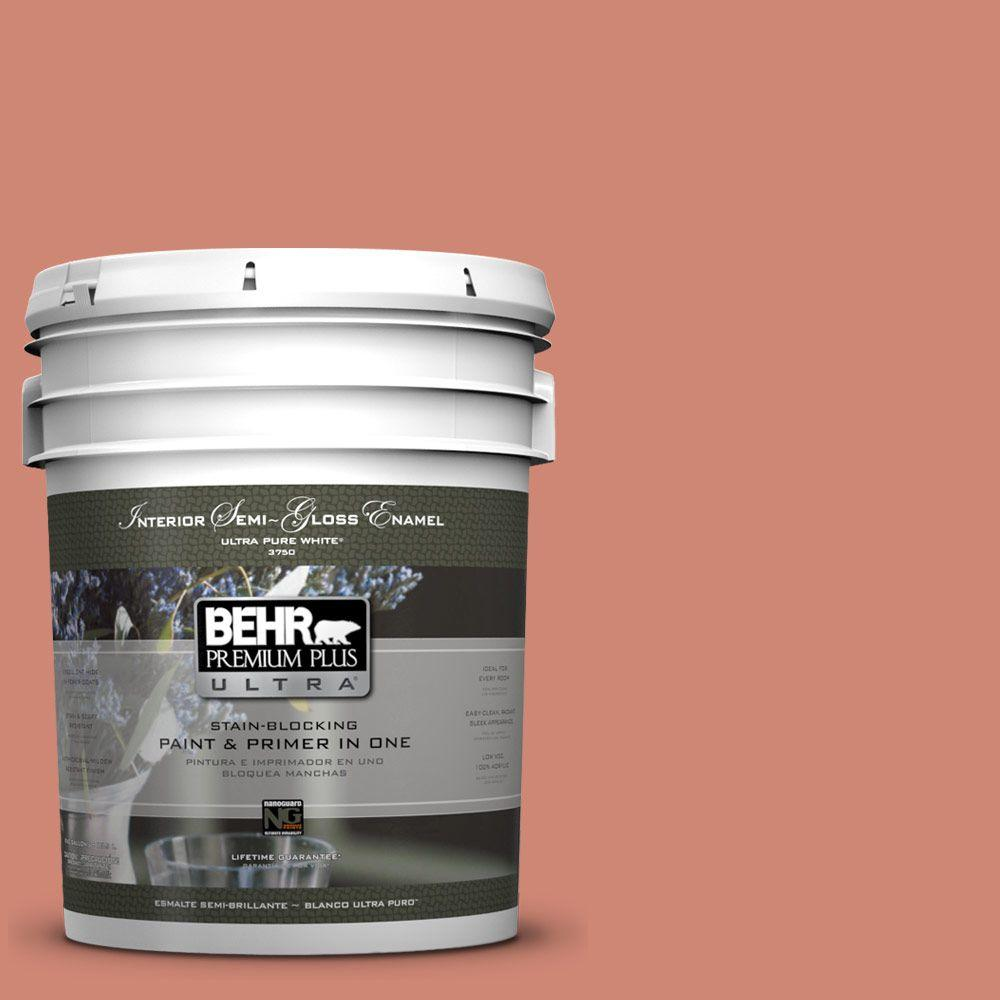 5 gal. #210D-5 Copperleaf Semi-Gloss Enamel Interior Paint and Primer in