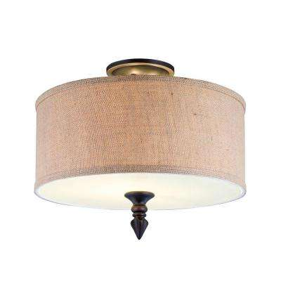 Jaxson Collection 2-Light Oil-Rubbed Bronze Semi-Flush Mount Light with Crafty Burlap Fabric Shade