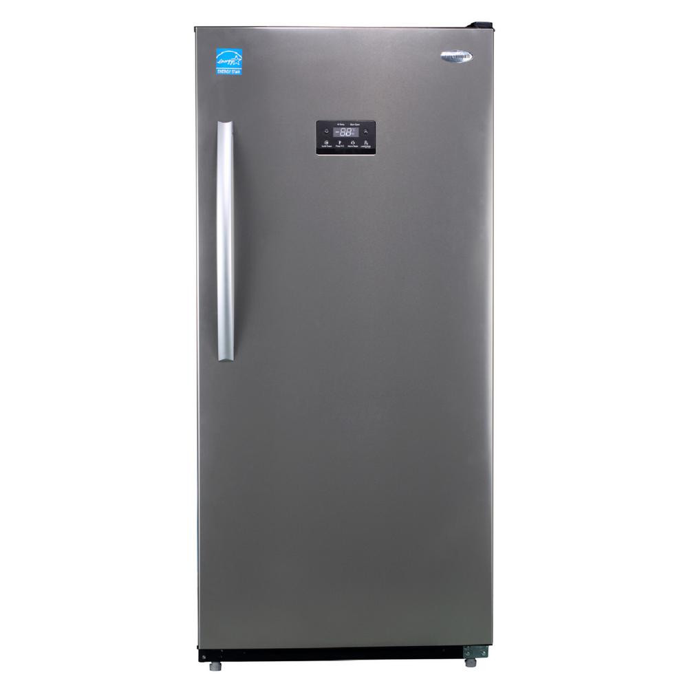 premium 13 8 cu ft frost free upright freezer in stainless steel pfv1376ms the home depot. Black Bedroom Furniture Sets. Home Design Ideas