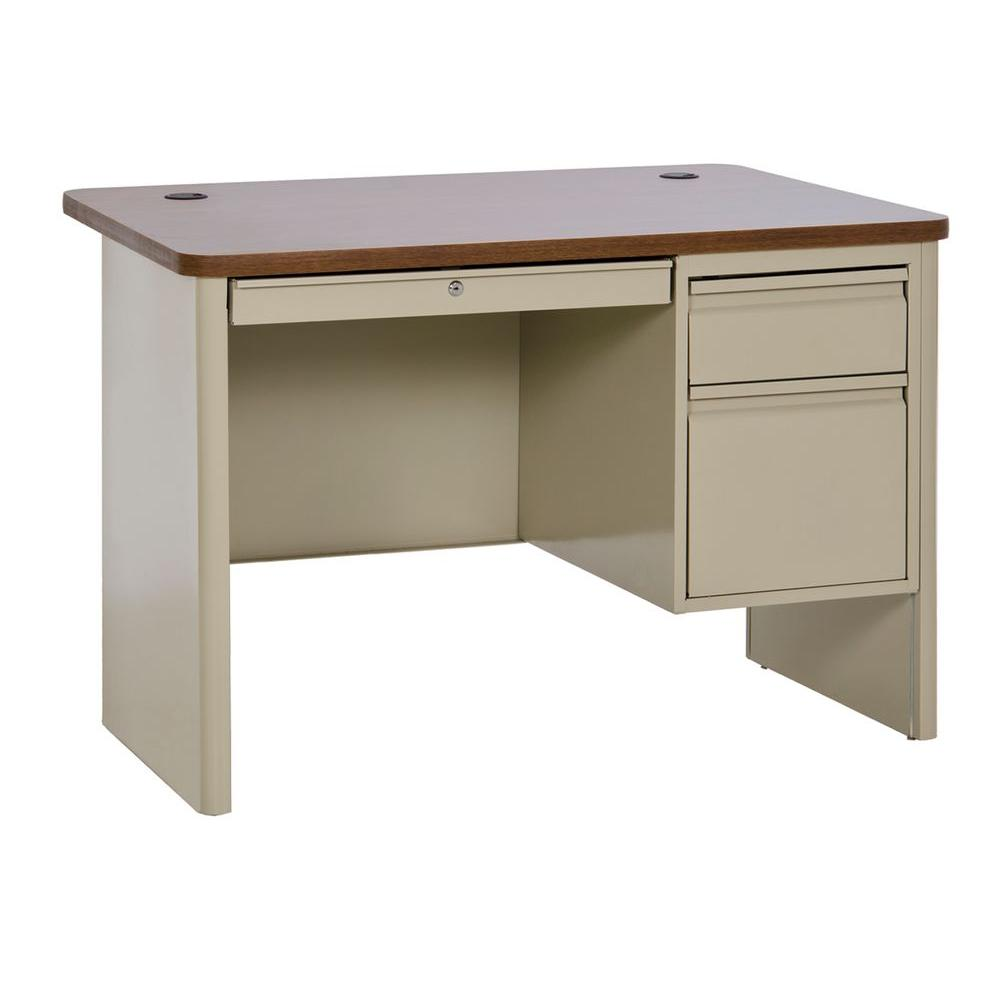 Sandusky 700 Series Single Pedestal Heavy Duty Teachers Desk in Putty/Medium Oak