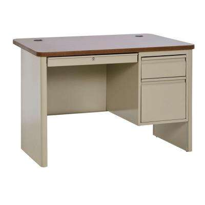 700 Series Single Pedestal Heavy Duty Teachers Desk in Putty/Medium Oak