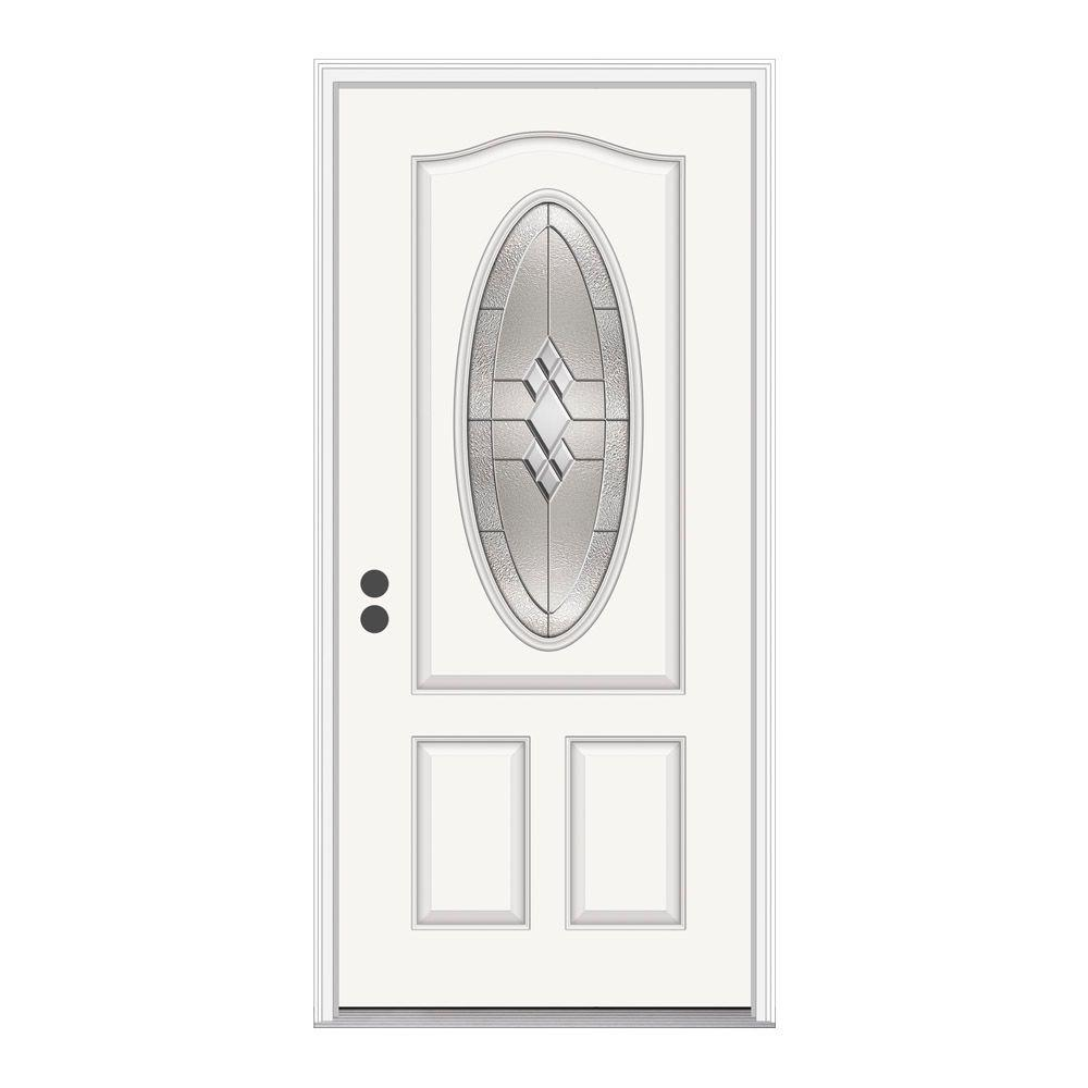 JELD-WEN 36 in. x 80 in. 3/4 Oval Lite Kingston White Painted Fiberglass Prehung Right-Hand Inswing Front Door w/Brickmould