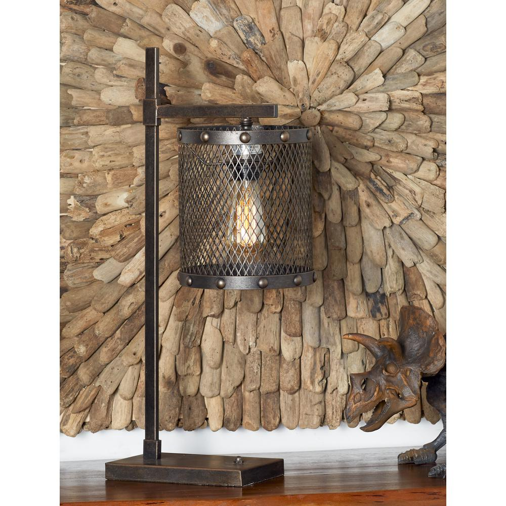 Brown Hanging Table Lamp With Iron Mesh Shade