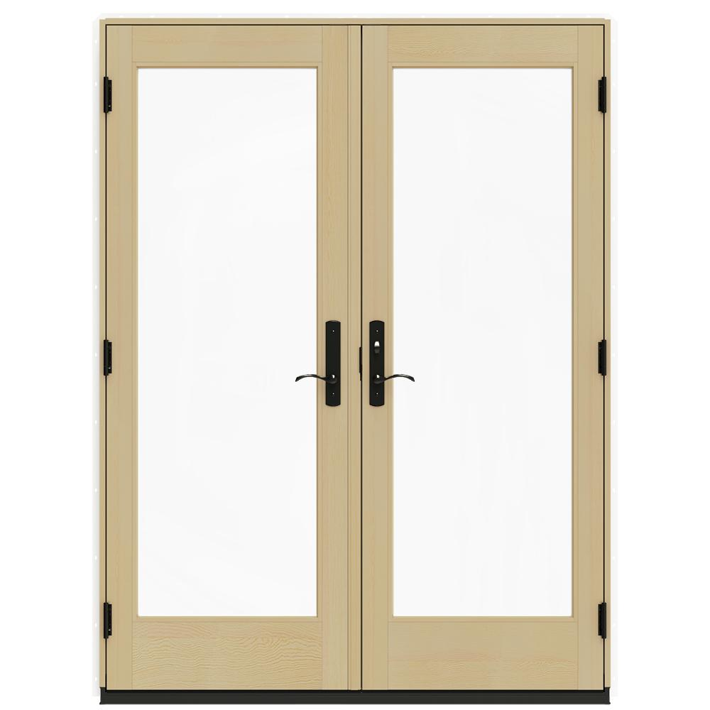 Jeld wen 60 in x 80 in w 4500 white prehung left hand for White french patio doors