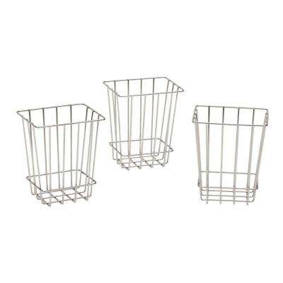 6 in. H x 6 in. D Laundry Storage Metal Baskets in Silver Metallic (Set of 3)