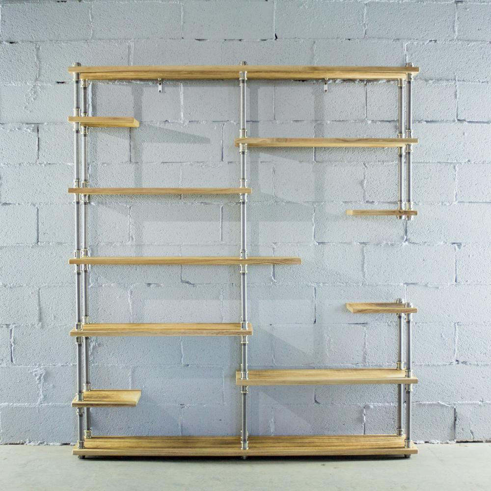 Merveilleux OS Home And Office Furniture Brushed Brass Industrial Pipe Asymmetrical  Eleven Shelf Bookcase