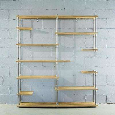 Brushed Brass Industrial Pipe Asymmetrical Eleven Shelf Bookcase